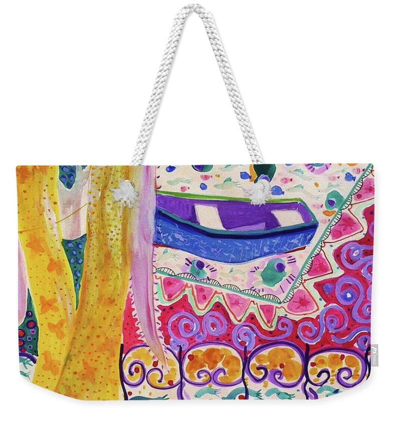 Boats Weekender Tote Bag featuring the painting Spinola Bay by Deborah Burow