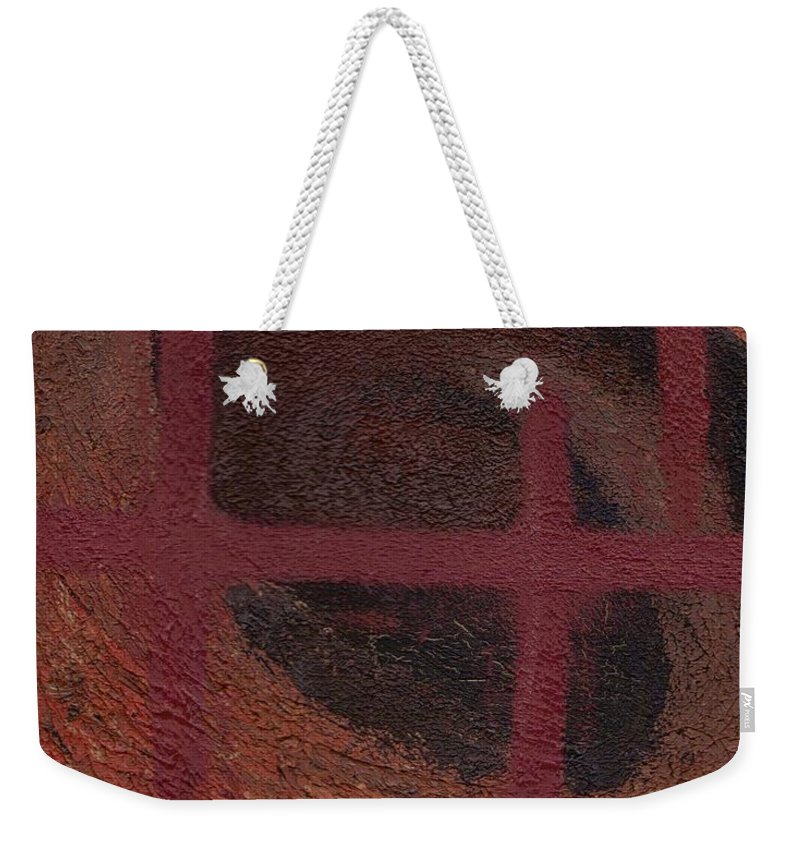 Brown Weekender Tote Bag featuring the painting Spiral Browns Painting by Jill Christensen