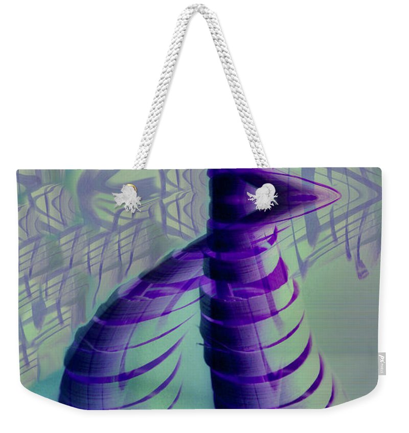 Abstract Art Weekender Tote Bag featuring the digital art Spiral by Linda Sannuti