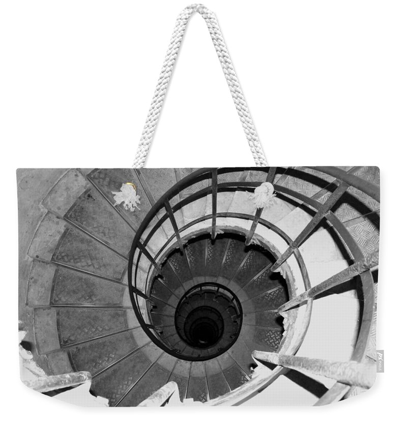 Spiral Staircase Weekender Tote Bag featuring the photograph Spiral Staircase At The Arc by Donna Corless