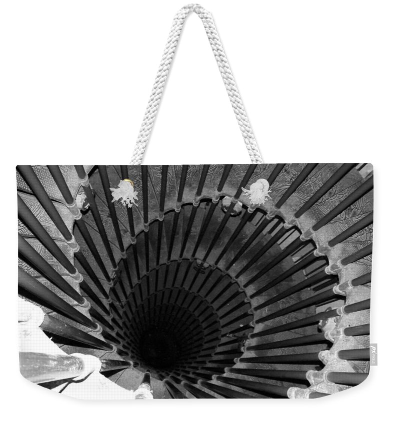 Spiral Staircase Weekender Tote Bag featuring the photograph Spiral Staircase In Lublijana by Donna Corless