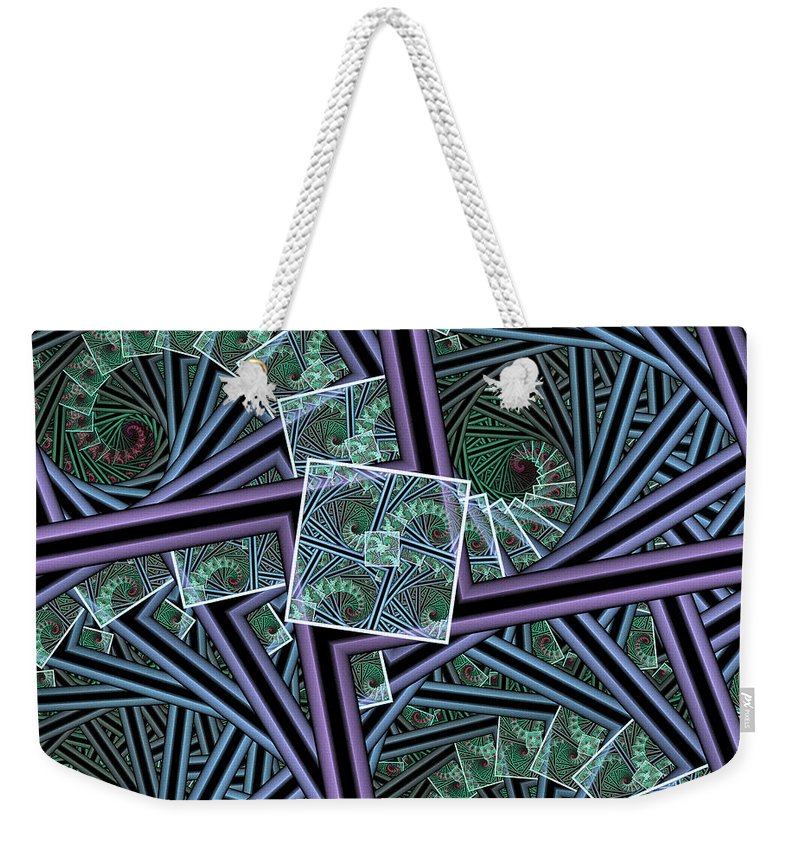 Fractal Weekender Tote Bag featuring the digital art Spiral Staircases by Deborah Benoit