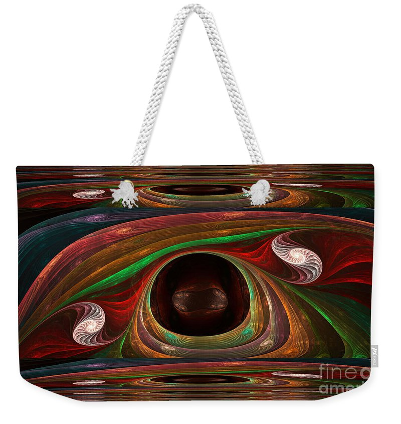 Fractal Weekender Tote Bag featuring the mixed media Spiral Warp by Deborah Benoit