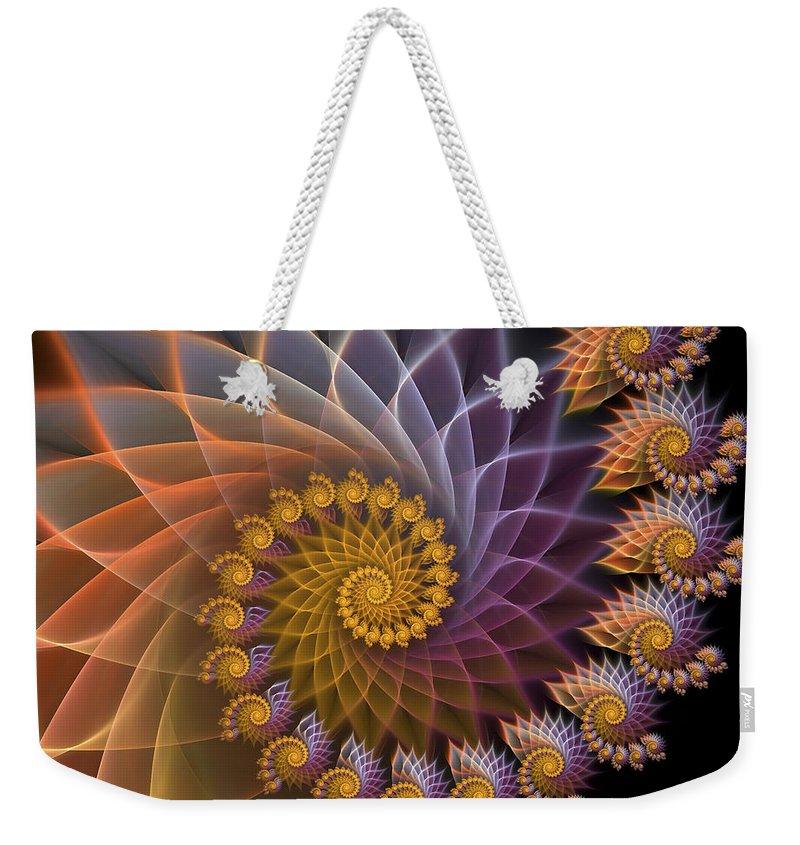 Fractal Weekender Tote Bag featuring the digital art Spiralined by Amorina Ashton