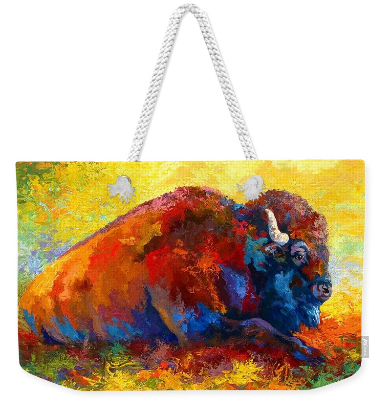 Wildlife Weekender Tote Bag featuring the painting Spirit Brother by Marion Rose