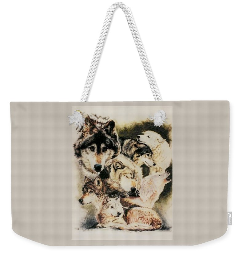 Canine Weekender Tote Bag featuring the pastel Spirit Catcher by Barbara Keith