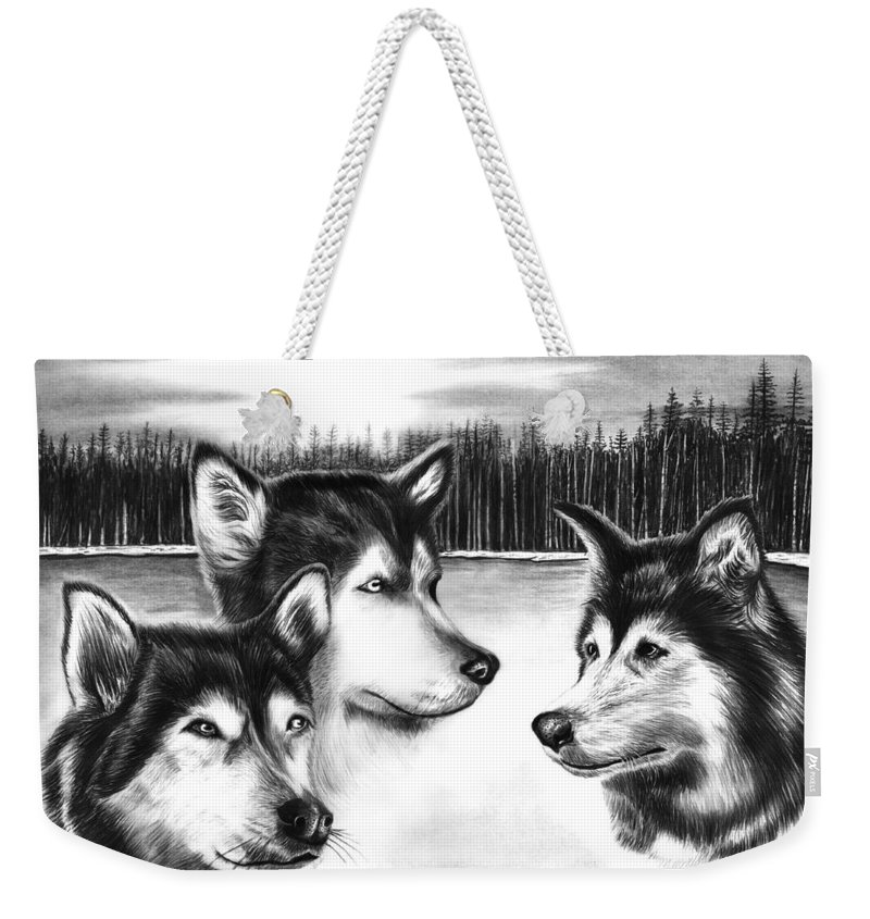 Spirit Guides Weekender Tote Bag featuring the drawing Spirit Guides by Peter Piatt