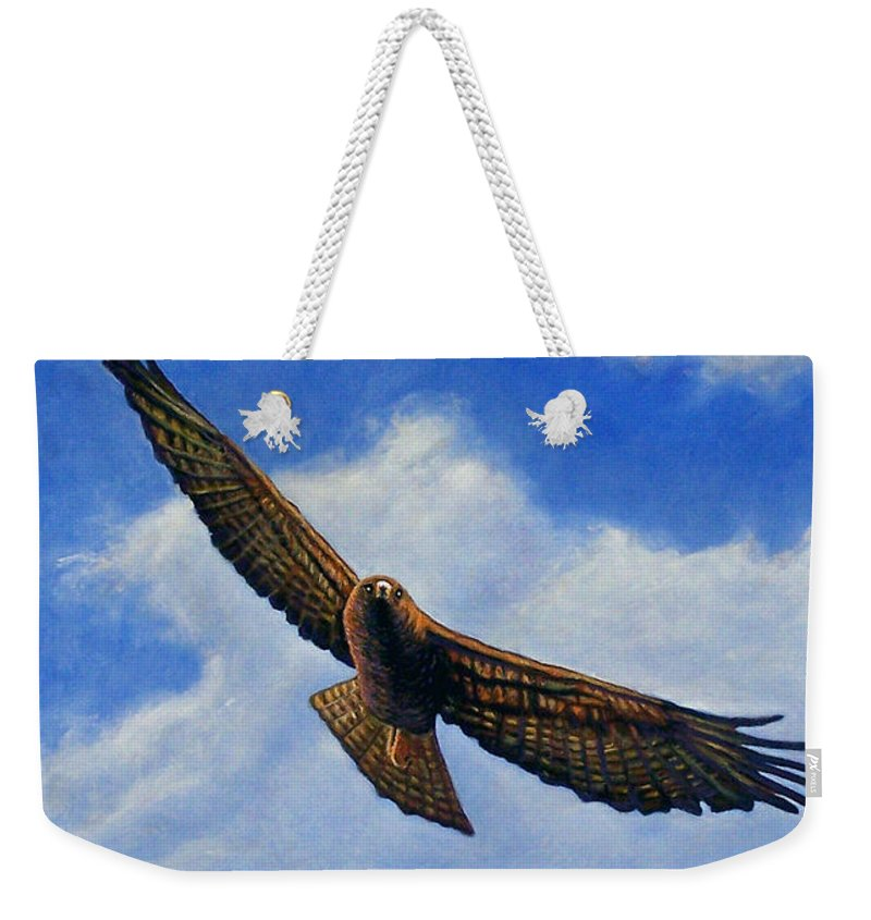 Hawk Weekender Tote Bag featuring the painting Spirit In The Wind by Brian Commerford