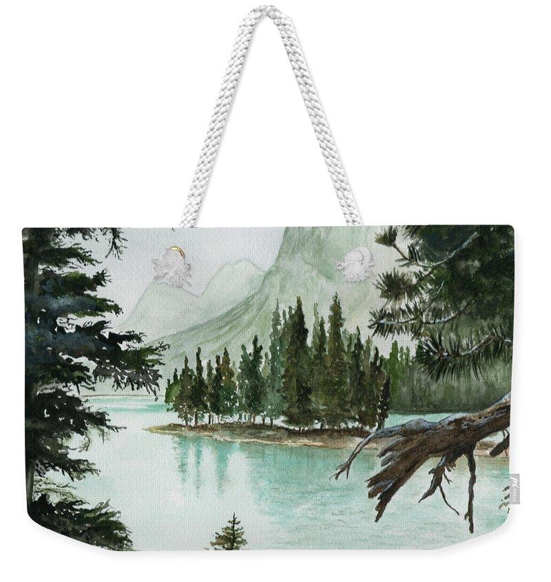 Landscape Weekender Tote Bag featuring the painting Spirit Lake by Brenda Owen