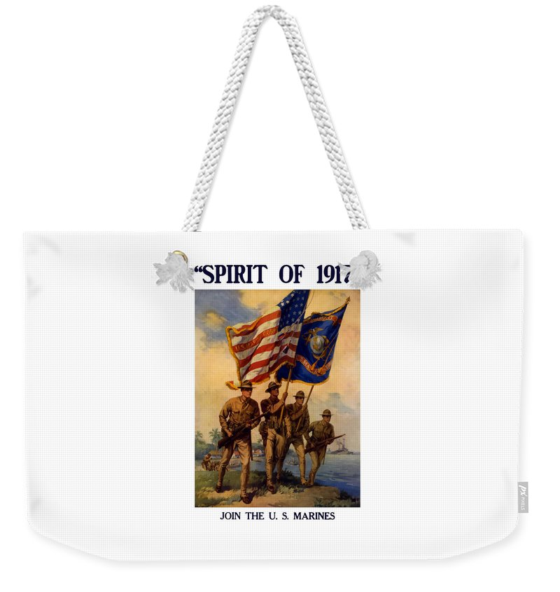 Marines Weekender Tote Bag featuring the painting Spirit Of 1917 - Join The Us Marines by War Is Hell Store