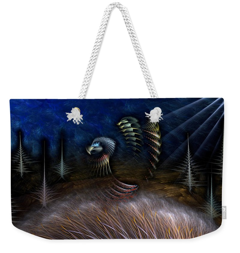 Abstract Weekender Tote Bag featuring the digital art Spirit Of A Duck by Casey Kotas