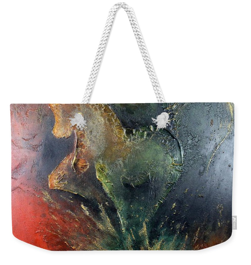 Horse Weekender Tote Bag featuring the painting Spirit Of Mustang by Farzali Babekhan