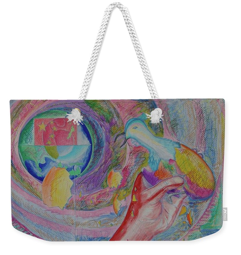 Johnpowellpaintings Weekender Tote Bag featuring the painting Spirit Of Piece by John Powell
