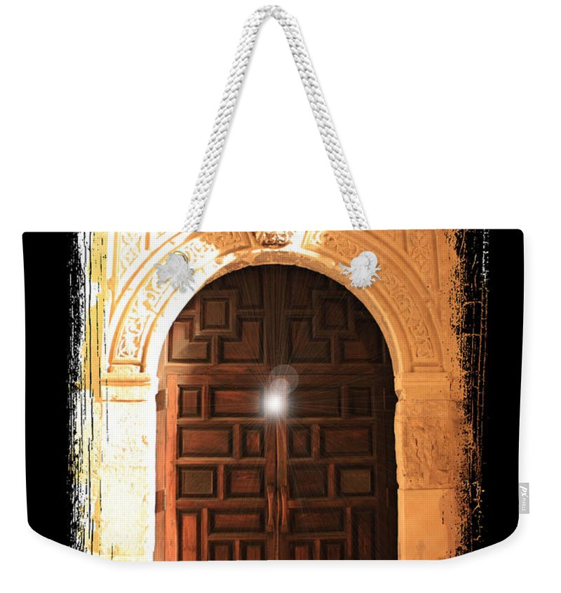 Radiant Light Weekender Tote Bag featuring the photograph Spirit Of The Alamo With Framing by Carol Groenen