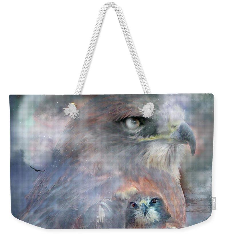 Hawk Weekender Tote Bag featuring the mixed media Spirit Of The Hawk by Carol Cavalaris