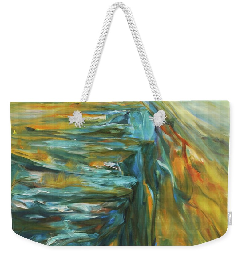 Bison Weekender Tote Bag featuring the painting Spirit Of The Jump by Jennifer Christenson
