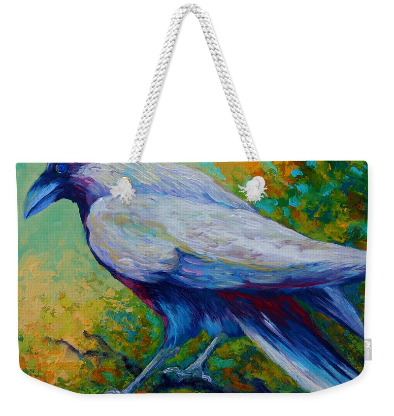 Crows Weekender Tote Bag featuring the painting Spirit Raven by Marion Rose
