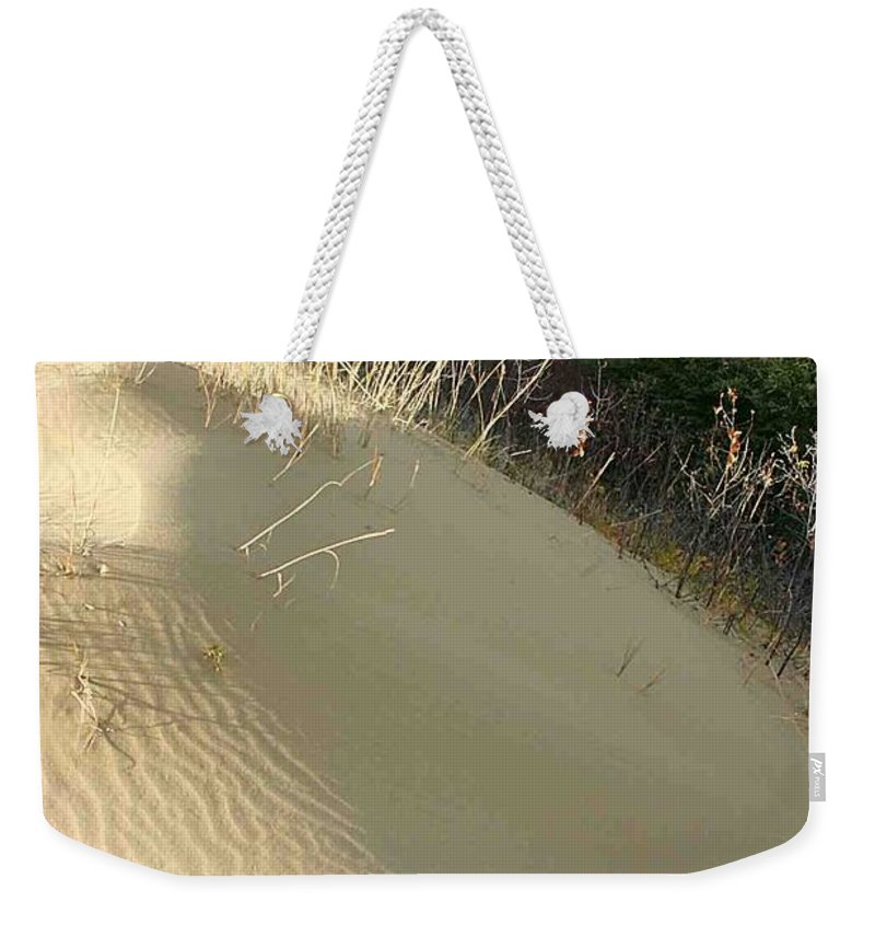 Spirit Sands Weekender Tote Bag featuring the photograph Spirit Sands - Late Day by Nelson Strong