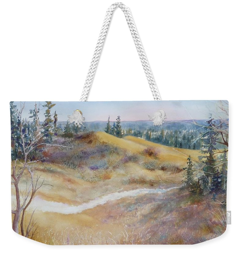 Landscape Weekender Tote Bag featuring the painting Spirit Sands by Ruth Kamenev