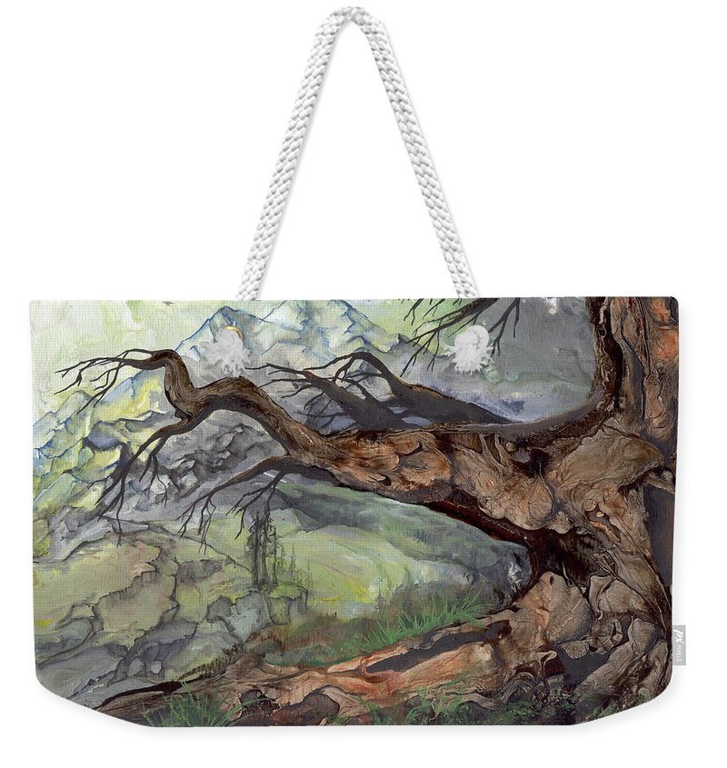 Bark Weekender Tote Bag featuring the painting Spirit Tree by Sherry Shipley