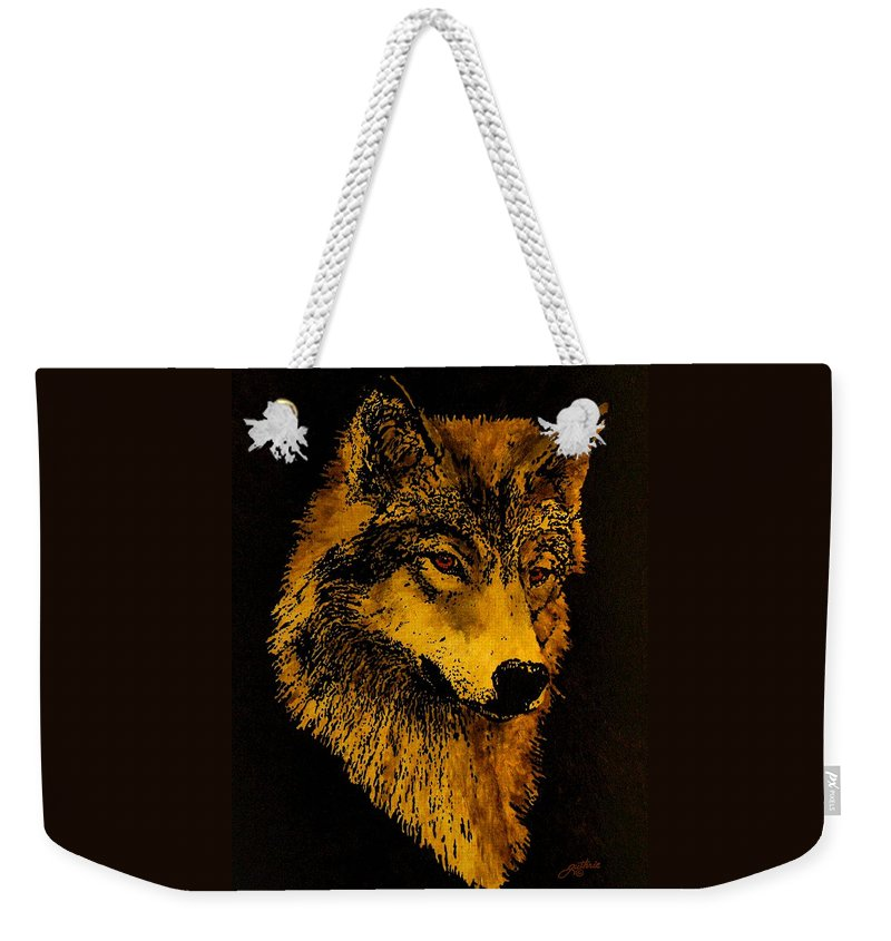 Wolf Weekender Tote Bag featuring the painting Spirit Wolf by John Guthrie