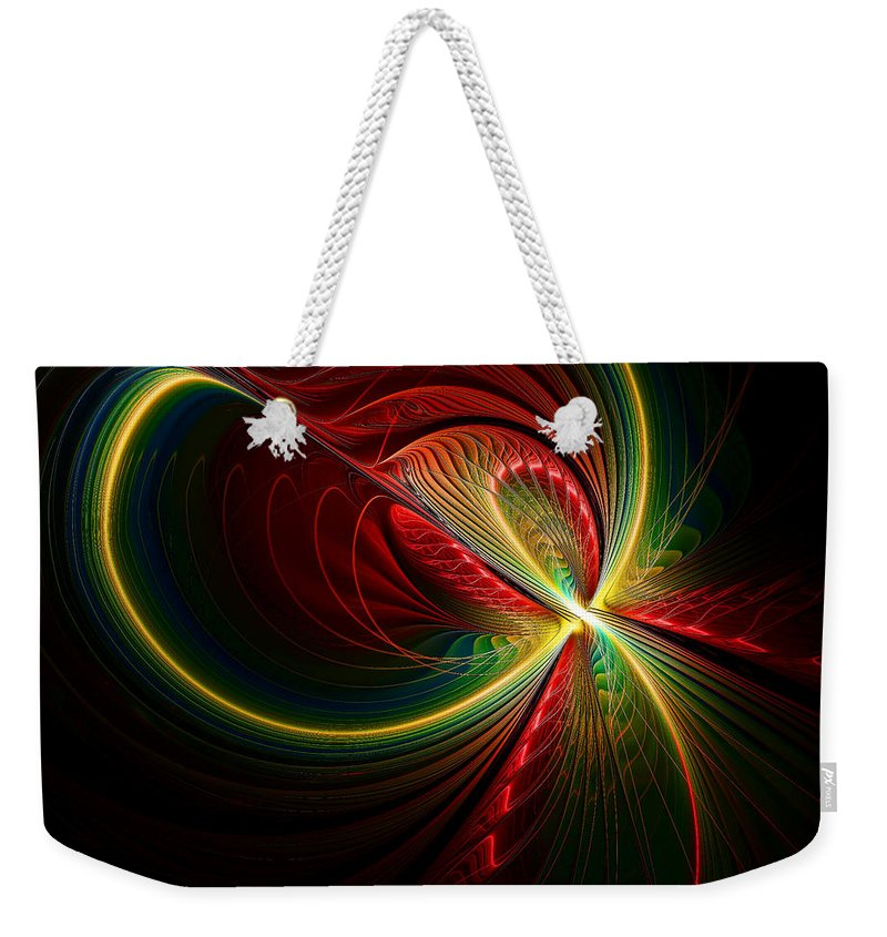 Fractal Weekender Tote Bag featuring the digital art Spiritual Energy by Deborah Benoit