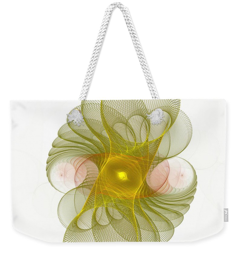 Fractal Weekender Tote Bag featuring the digital art Spiro-girations by Richard Ortolano