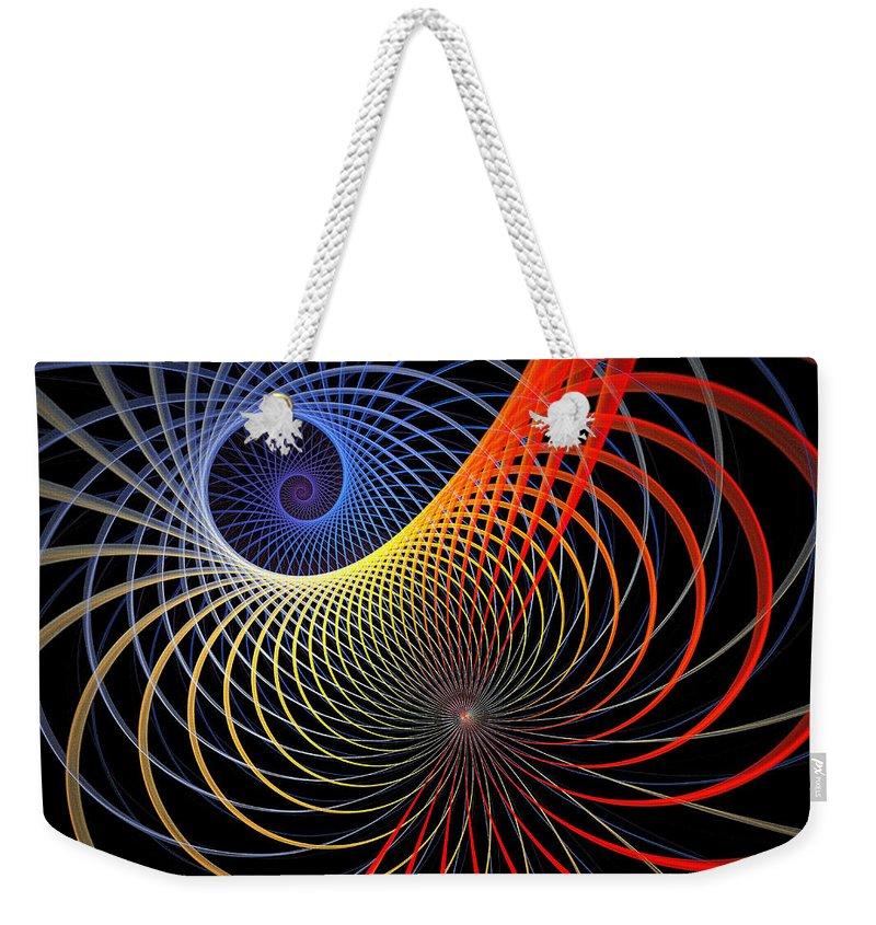 Digital Art Weekender Tote Bag featuring the digital art Spirograph by Amanda Moore