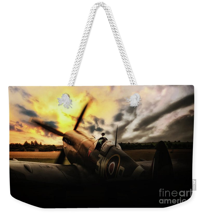 Spitfire Sunset Silhouette Weekender Tote Bag