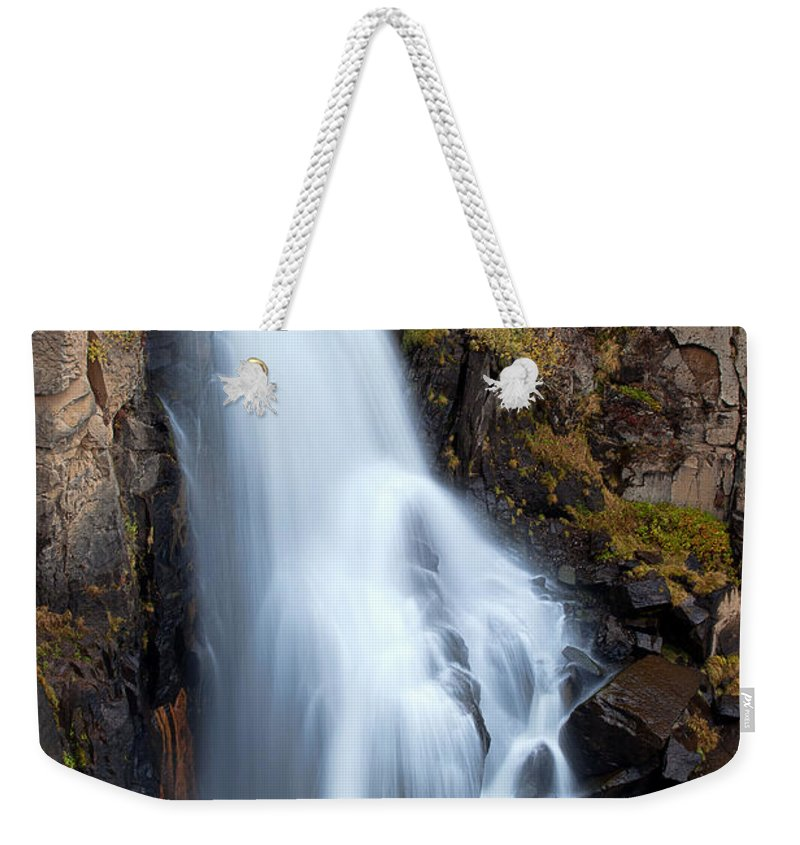 Waters Weekender Tote Bag featuring the photograph Splash Down by Jim Garrison