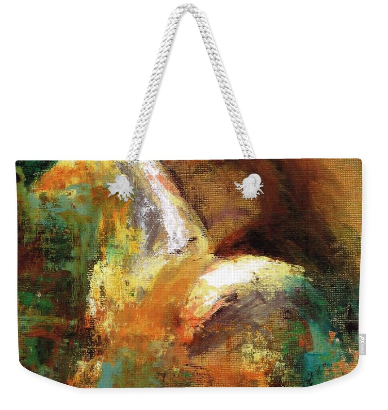 Abstract Horse Weekender Tote Bag featuring the painting Splash Of White by Frances Marino