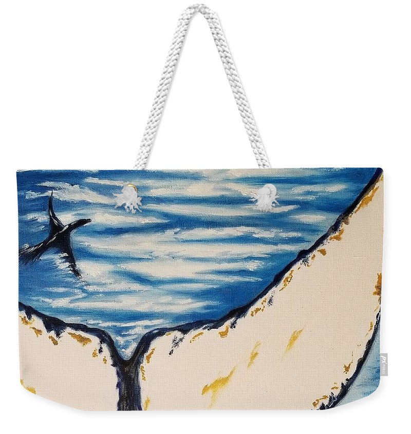Ocean Weekender Tote Bag featuring the painting Ocean Tail by Jessica Cyrul
