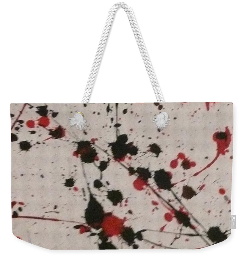 Abstract Weekender Tote Bag featuring the painting Splat by Barb Montanye Meseroll