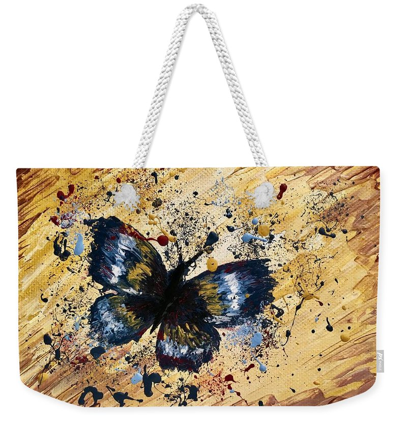 Splatter Weekender Tote Bag featuring the painting Splatter Butterfly by Jolie Shave