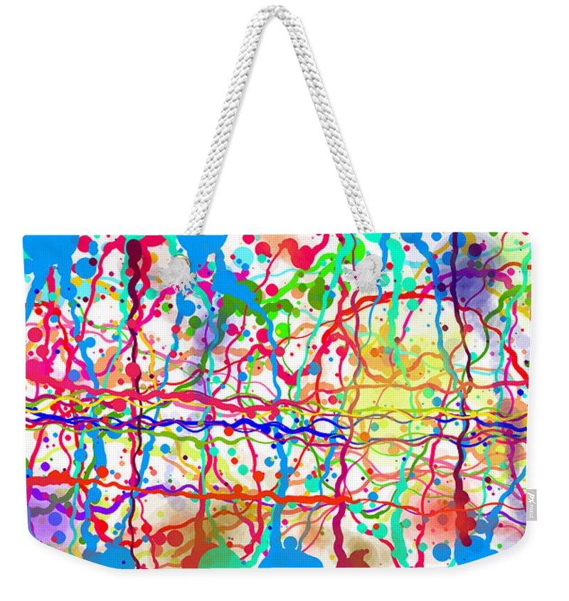 Abstract Weekender Tote Bag featuring the digital art Splatter Paint by Maryam Al Azzawi