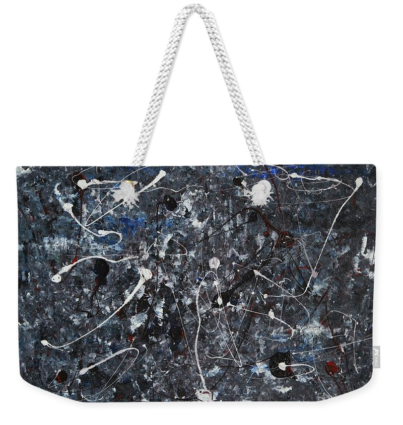Splatter Weekender Tote Bag featuring the painting Splattered - Grey by Jacqueline Athmann