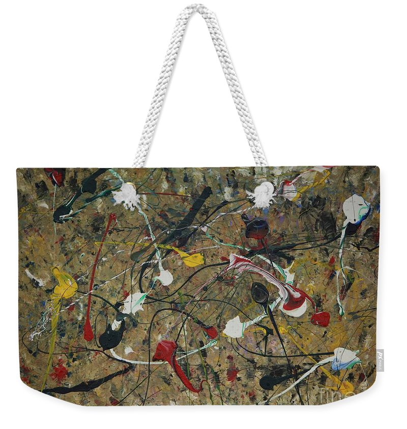 Abstract Weekender Tote Bag featuring the painting Splattered by Jacqueline Athmann