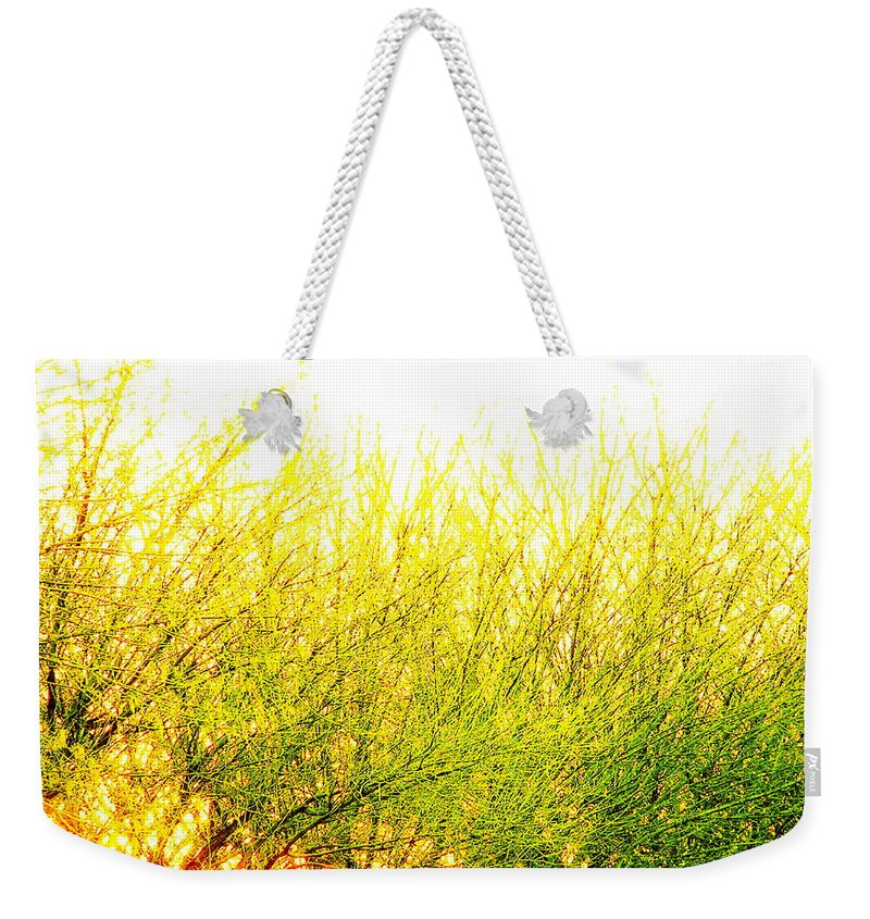 Splatter Weekender Tote Bag featuring the photograph Yellow Splatter by M Pace