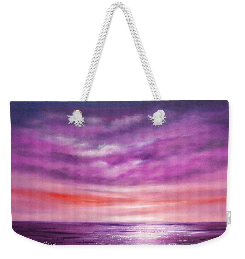 Oil Weekender Tote Bag featuring the painting Splendid Purple by Gina De Gorna