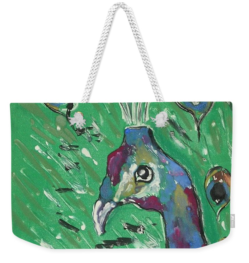 Peacock Weekender Tote Bag featuring the mixed media Splendor Is The Night by Cori Solomon