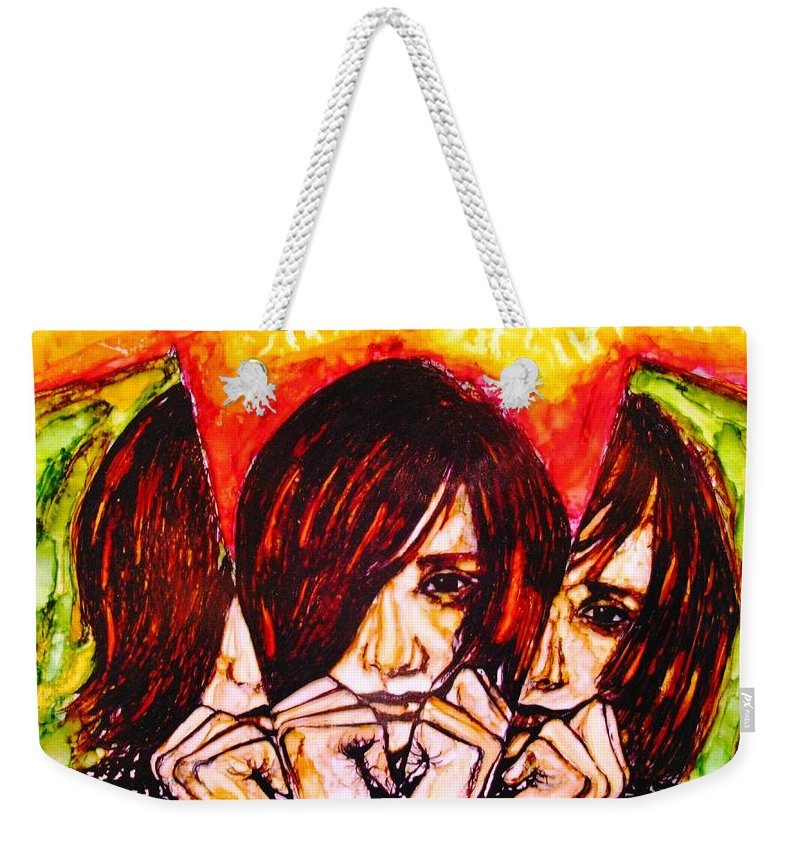 Weekender Tote Bag featuring the mixed media Split Personality by Sarah G ART