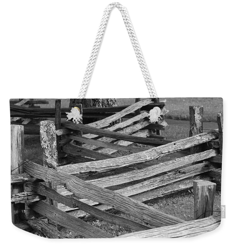 Road Weekender Tote Bag featuring the photograph Split Rail Fence by Eric Liller