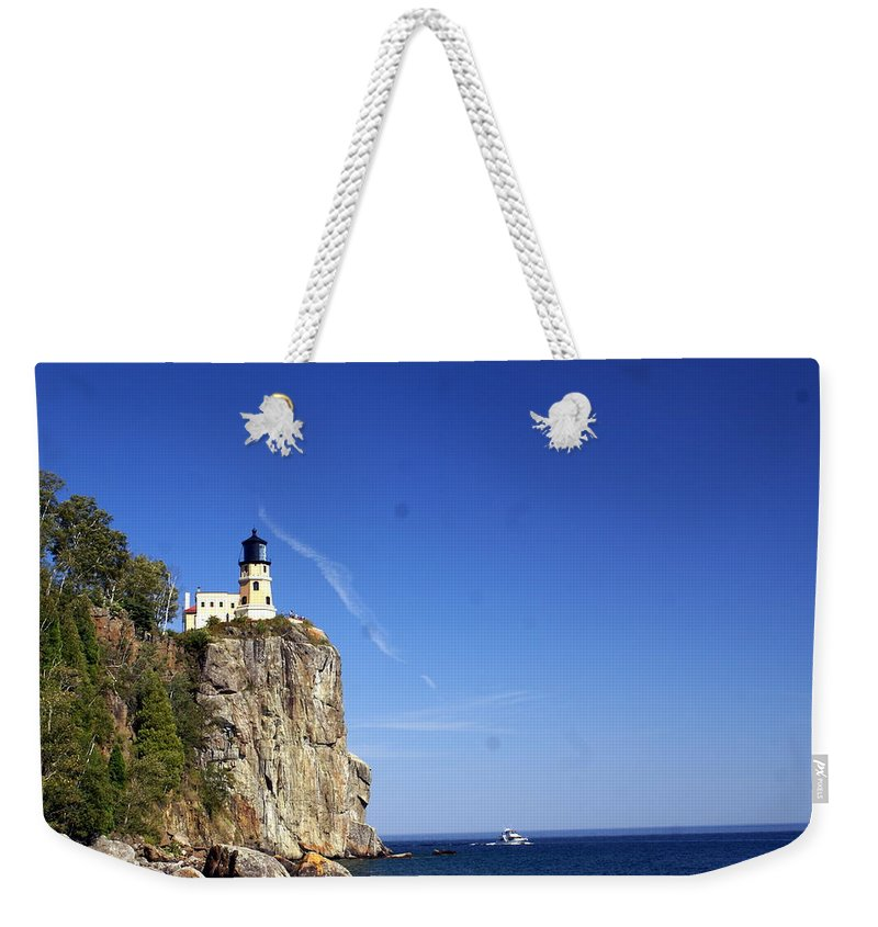 Split Rock Lighthouse Weekender Tote Bag featuring the photograph Split Rock 1 by Marty Koch