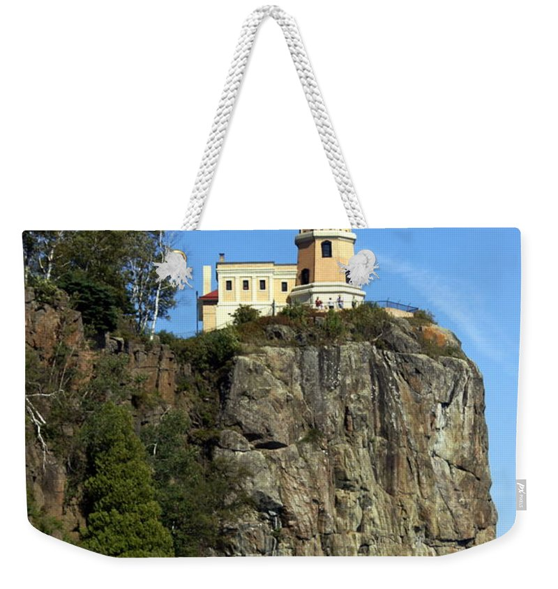 Lighthouse Weekender Tote Bag featuring the photograph Split Rock 3 by Marty Koch