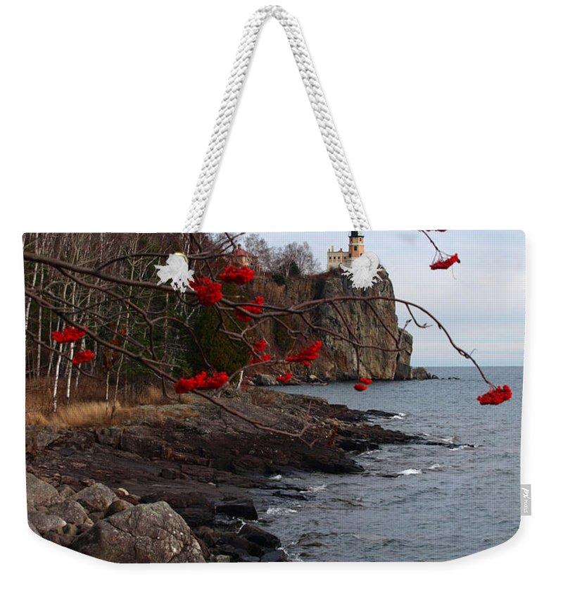 Jim Weekender Tote Bag featuring the photograph Split Rock Berries by James Peterson