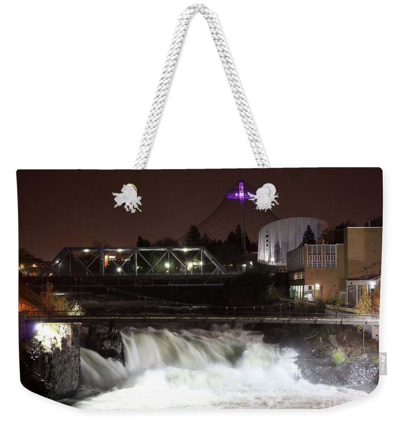 Spokane Weekender Tote Bag featuring the photograph Spokane Falls Night Scene by Carol Groenen