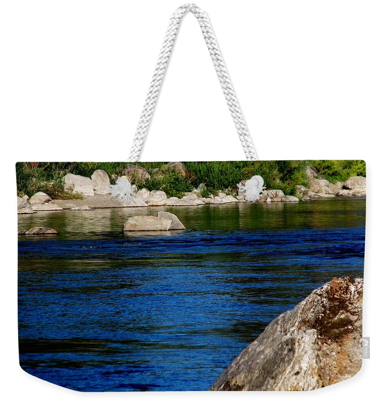 Patzer Weekender Tote Bag featuring the photograph Spokane River by Greg Patzer