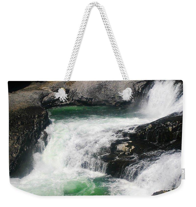Spokane Weekender Tote Bag featuring the photograph Spokane Water Fall by Anthony Jones