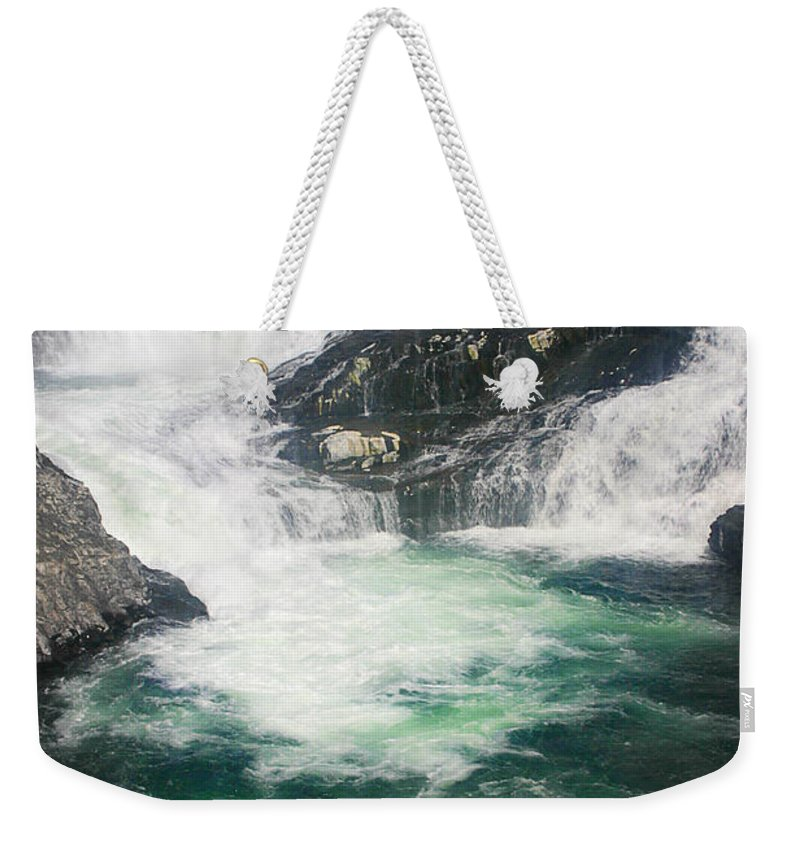 Water Falls Weekender Tote Bag featuring the photograph Spokane Waterfalls by Anthony Jones