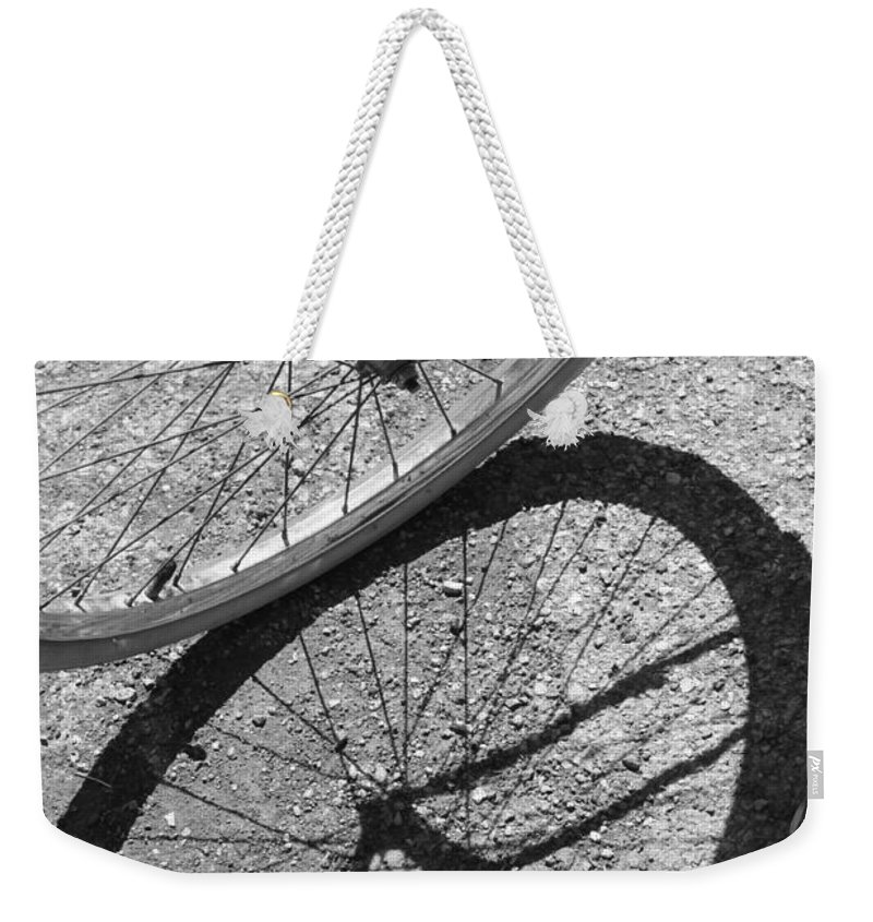 Bike Weekender Tote Bag featuring the photograph Spoke Shadows by Lauri Novak